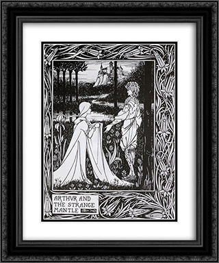 Arthur and the Strange Mantle 20x24 Black or Gold Ornate Framed and Double Matted Art Print by Aubrey Beardsley