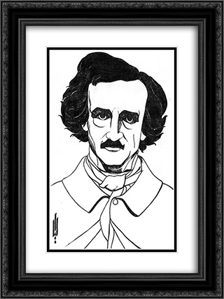 By Edgar Allan Poe 18x24 Black or Gold Ornate Framed and Double Matted Art Print by Aubrey Beardsley