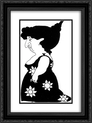 Caricature of a figure in a sunflower dress 18x24 Black or Gold Ornate Framed and Double Matted Art Print by Aubrey Beardsley
