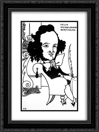 Caricature of Felix Mendelssohn 18x24 Black or Gold Ornate Framed and Double Matted Art Print by Aubrey Beardsley