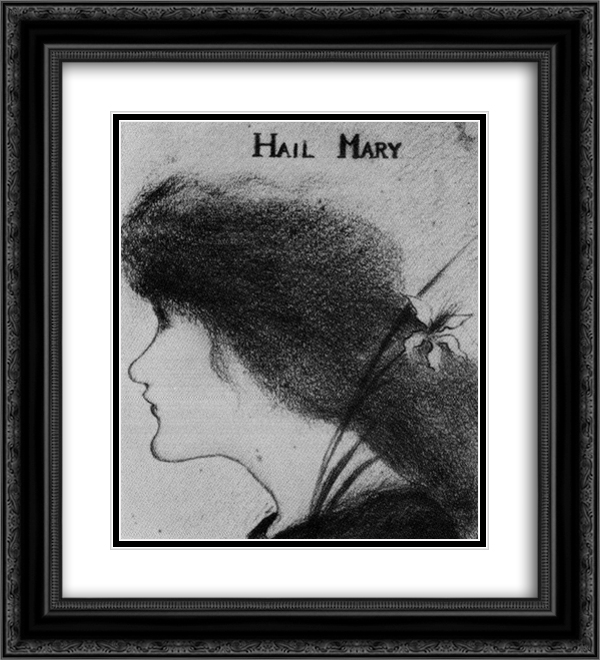 Hail Mary (pencil) 20x22 Black or Gold Ornate Framed and Double Matted Art Print by Aubrey Beardsley
