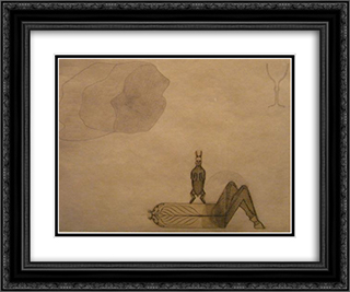 unknown title 24x20 Black or Gold Ornate Framed and Double Matted Art Print by August Natterer