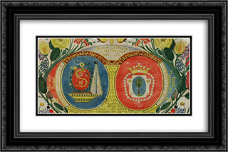 Wappen 24x16 Black or Gold Ornate Framed and Double Matted Art Print by August Natterer