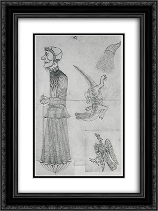 Witch with eagle, crocodile and cornucopia 18x24 Black or Gold Ornate Framed and Double Matted Art Print by August Natterer
