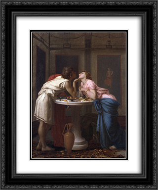 A Classical Courtship 20x24 Black or Gold Ornate Framed and Double Matted Art Print by Auguste Toulmouche