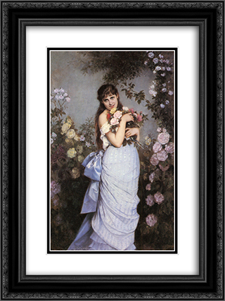 A Young Woman in a Rose Garden 18x24 Black or Gold Ornate Framed and Double Matted Art Print by Auguste Toulmouche
