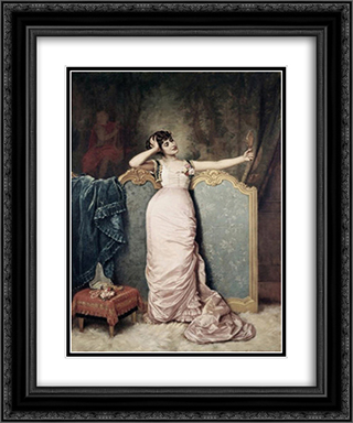 Admiring Herself 20x24 Black or Gold Ornate Framed and Double Matted Art Print by Auguste Toulmouche