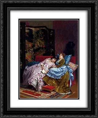 An Afternoon Idyll 20x24 Black or Gold Ornate Framed and Double Matted Art Print by Auguste Toulmouche