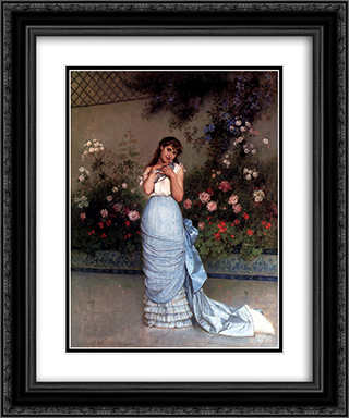 An Elegant Beauty 20x24 Black or Gold Ornate Framed and Double Matted Art Print by Auguste Toulmouche