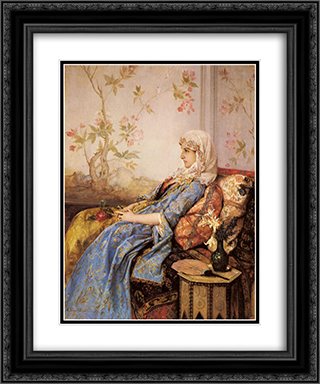 An Exotic Beauty in an Interior 20x24 Black or Gold Ornate Framed and Double Matted Art Print by Auguste Toulmouche