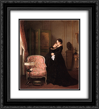 Consolation 20x22 Black or Gold Ornate Framed and Double Matted Art Print by Auguste Toulmouche