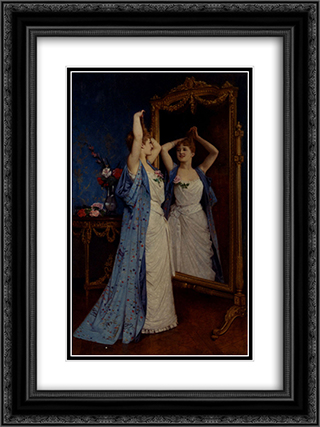 La Toilette 18x24 Black or Gold Ornate Framed and Double Matted Art Print by Auguste Toulmouche