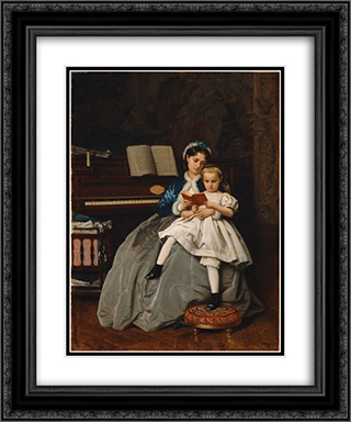 Reading Lesson 20x24 Black or Gold Ornate Framed and Double Matted Art Print by Auguste Toulmouche