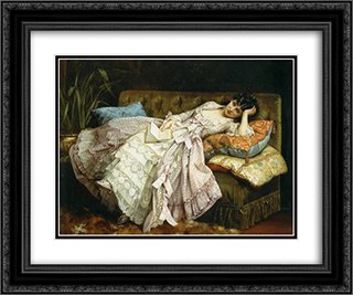 Sweet Doing Nothing 24x20 Black or Gold Ornate Framed and Double Matted Art Print by Auguste Toulmouche