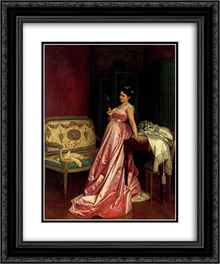 The Admiring Glance 20x24 Black or Gold Ornate Framed and Double Matted Art Print by Auguste Toulmouche