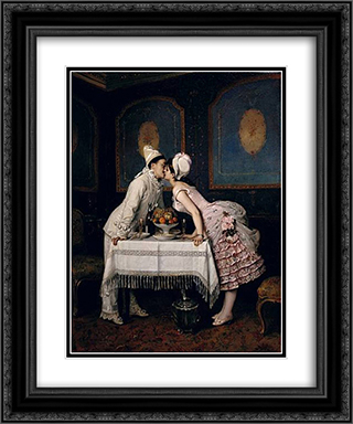 The Kiss 20x24 Black or Gold Ornate Framed and Double Matted Art Print by Auguste Toulmouche