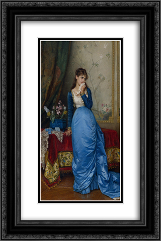 The Letter 16x24 Black or Gold Ornate Framed and Double Matted Art Print by Auguste Toulmouche