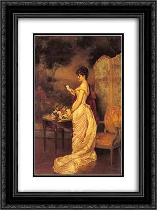 The Love Letter 18x24 Black or Gold Ornate Framed and Double Matted Art Print by Auguste Toulmouche