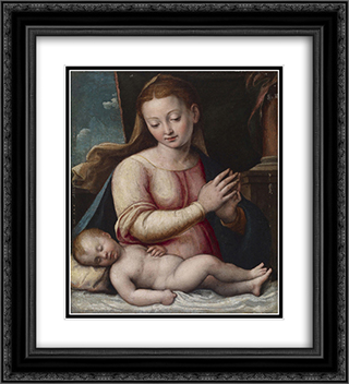 Madonna Adoring the Child 20x22 Black or Gold Ornate Framed and Double Matted Art Print by Barbara Longhi