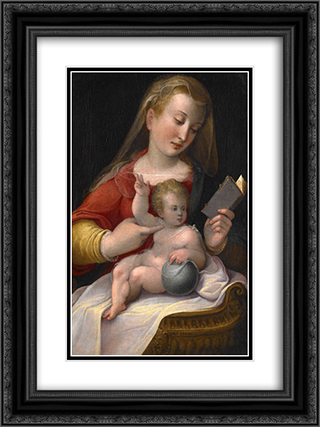Madonna and Child 18x24 Black or Gold Ornate Framed and Double Matted Art Print by Barbara Longhi