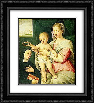 Virgin and Child with Saint 20x22 Black or Gold Ornate Framed and Double Matted Art Print by Barbara Longhi