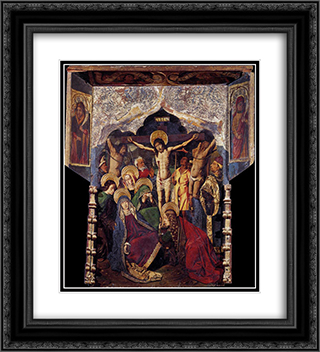 Crucifixion 20x22 Black or Gold Ornate Framed and Double Matted Art Print by Bartolome Bermejo