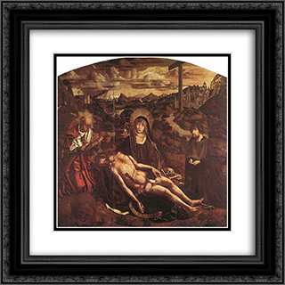 Pieta of Canon Luis Despla 20x20 Black or Gold Ornate Framed and Double Matted Art Print by Bartolome Bermejo