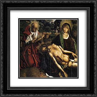 Pieta of Canon Luis Despla (detail) 20x20 Black or Gold Ornate Framed and Double Matted Art Print by Bartolome Bermejo