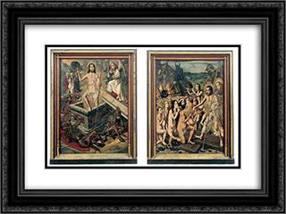 Resurrection and Descent of Christ to Limbo 24x18 Black or Gold Ornate Framed and Double Matted Art Print by Bartolome Bermejo