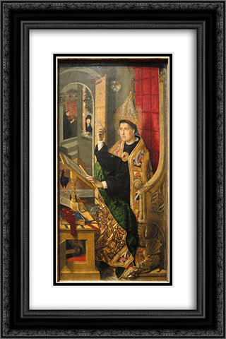 Saint Augustine 16x24 Black or Gold Ornate Framed and Double Matted Art Print by Bartolome Bermejo