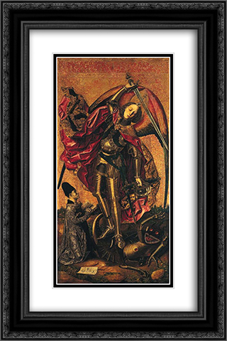 Saint Michael Triumphs over the Devil 16x24 Black or Gold Ornate Framed and Double Matted Art Print by Bartolome Bermejo