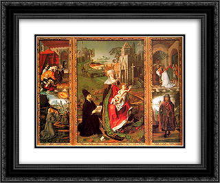 Saint Sebastian 24x20 Black or Gold Ornate Framed and Double Matted Art Print by Bartolome Bermejo