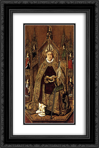 St Dominic Enthroned in Glory 16x24 Black or Gold Ornate Framed and Double Matted Art Print by Bartolome Bermejo