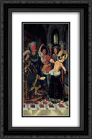 The Flagellation of St Engracia 16x24 Black or Gold Ornate Framed and Double Matted Art Print by Bartolome Bermejo