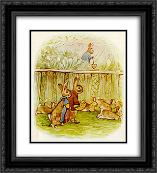 Benjamin and Flopsy Bunny 20x22 Black or Gold Ornate Framed and Double Matted Art Print by Beatrix Potter