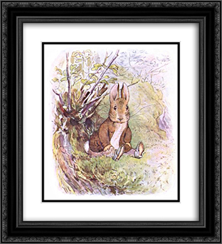Benjamin Bunny 20x22 Black or Gold Ornate Framed and Double Matted Art Print by Beatrix Potter
