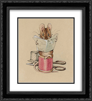Frontispiece. The Tailor Mouse 20x22 Black or Gold Ornate Framed and Double Matted Art Print by Beatrix Potter