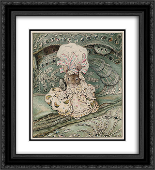 Lady Mouse in Mob Cap 20x22 Black or Gold Ornate Framed and Double Matted Art Print by Beatrix Potter