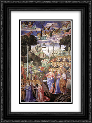 Angels Worshipping 18x24 Black or Gold Ornate Framed and Double Matted Art Print by Benozzo Gozzoli