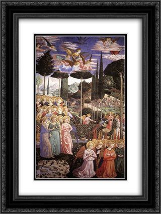 Angels Worshipping (detail) 18x24 Black or Gold Ornate Framed and Double Matted Art Print by Benozzo Gozzoli