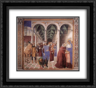 Arrival of St. Augustine in Milan 22x20 Black or Gold Ornate Framed and Double Matted Art Print by Benozzo Gozzoli
