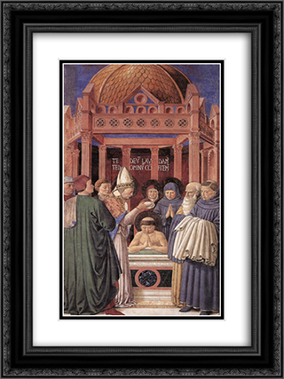 Baptism of St. Augustine 18x24 Black or Gold Ornate Framed and Double Matted Art Print by Benozzo Gozzoli