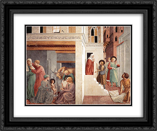 Birth of St. Francis, Prophecy of the Birth by a Pilgrim, Homage of the Simple Man 24x20 Black or Gold Ornate Framed and Double Matted Art Print by Benozzo Gozzoli
