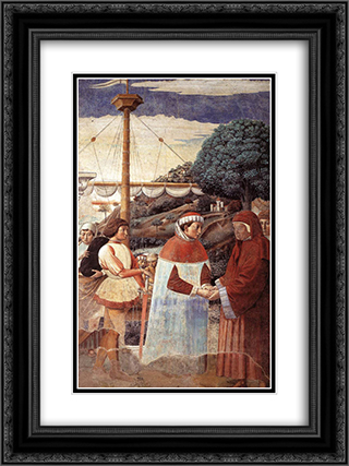 Disembarkation at Ostia 18x24 Black or Gold Ornate Framed and Double Matted Art Print by Benozzo Gozzoli