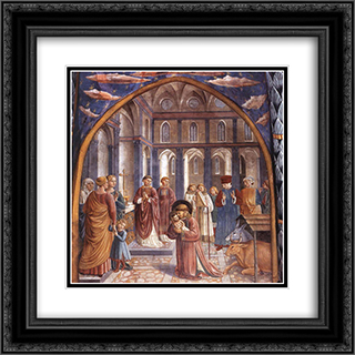 Establishment of the Manger at Greccio 20x20 Black or Gold Ornate Framed and Double Matted Art Print by Benozzo Gozzoli