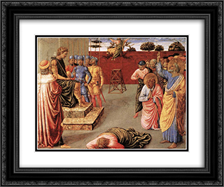Fall of Simon Magus 24x20 Black or Gold Ornate Framed and Double Matted Art Print by Benozzo Gozzoli