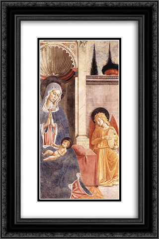 Madonna and Child (detail) 16x24 Black or Gold Ornate Framed and Double Matted Art Print by Benozzo Gozzoli