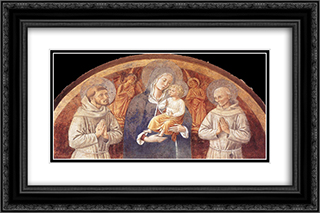 Madonna and Child between St. Francis and St. Bernardine of Siena 24x16 Black or Gold Ornate Framed and Double Matted Art Print by Benozzo Gozzoli