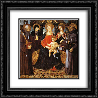 Madonna and Child Enthroned Among St. Benedict, St. Scholastica, St. Ursula and St. John Gualberto 20x20 Black or Gold Ornate Framed and Double Matted Art Print by Benozzo Gozzoli