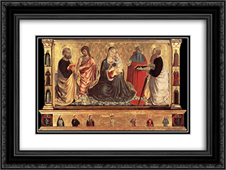Madonna and Child with Sts John the Baptist, Peter, Jerome, and Paul 24x18 Black or Gold Ornate Framed and Double Matted Art Print by Benozzo Gozzoli